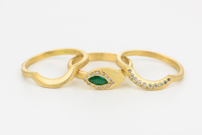 Stacking Wedding Rings Set with Emerald ,Diamonds