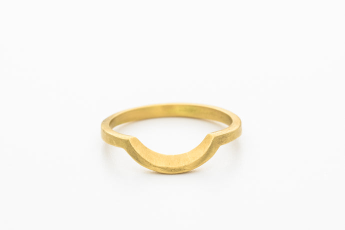 18k Gold Curved Stack Wedding Band