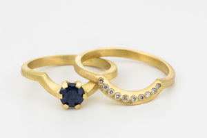 Blue sapphire Wedding Rings Set Diamonds