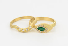 Load image into Gallery viewer, Unique Wedding Rings Emerald Diamonds