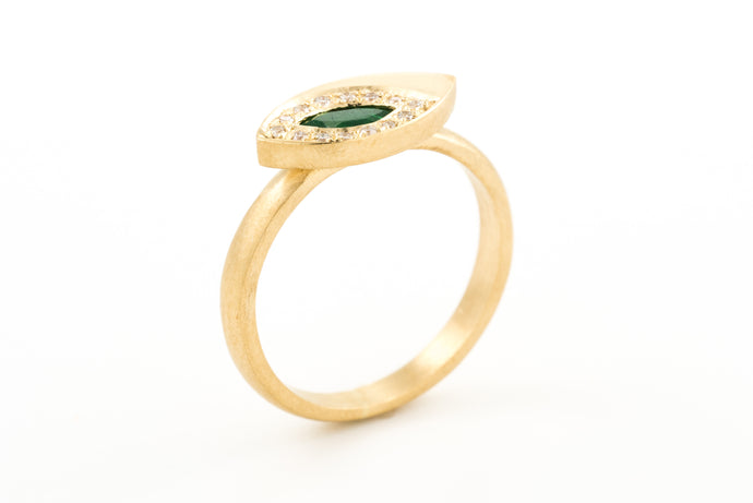 Emerald Marquise Engagement  Ring