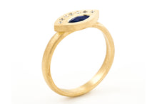 Load image into Gallery viewer, Blue Sapphire Diamonds Engagement Ring