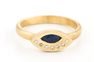 Blue Sapphire Diamonds Engagement Ring