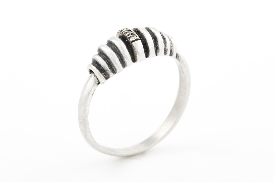 Rustic Silver Ring with Diamonds