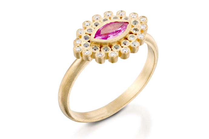 Pink Sapphire Marquise Ring 18k Gold