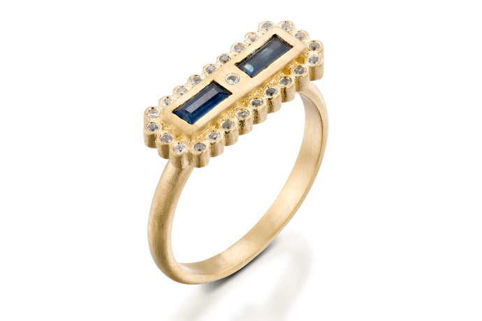 Unique Rectangle Sapphires Engagement Ring
