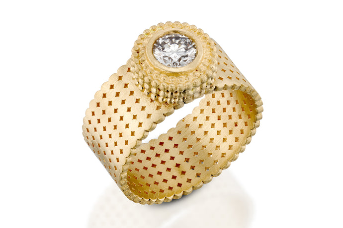 18k gold Diamond Solitaire Wide Ring