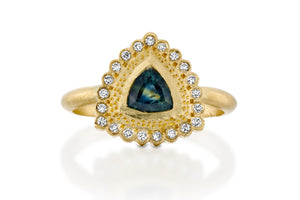 18k gold Trillion Sapphire Engagement Ring