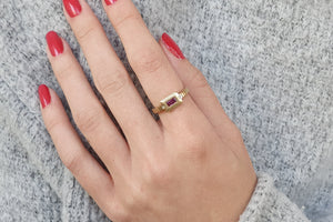 18k Ruby Rectangle Engagement Ring