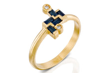 Load image into Gallery viewer, 18k Yellow Gold Rectangle Blue Sapphire & Champagne Diamond