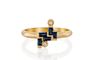18k Yellow Gold Rectangle Blue Sapphire & Champagne Diamond