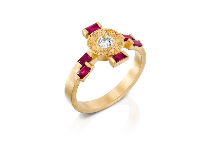 18k Engagement Ring set with Ruby & Diamond