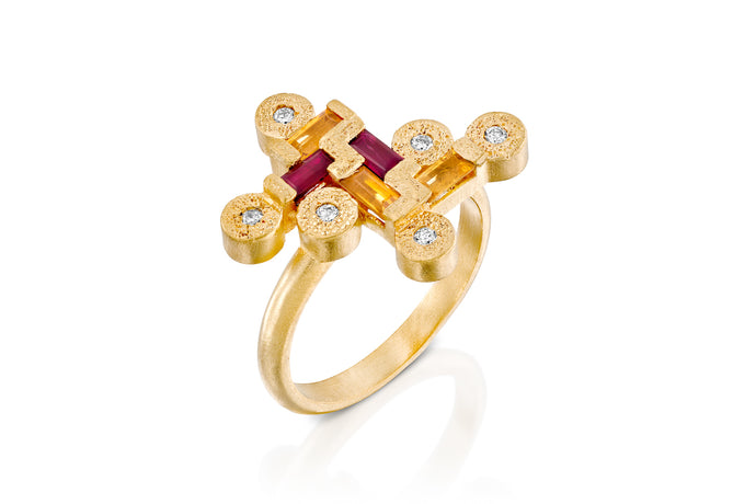 18k Engagement Ring set with Ruby,Yellow Sapphire & Diamond