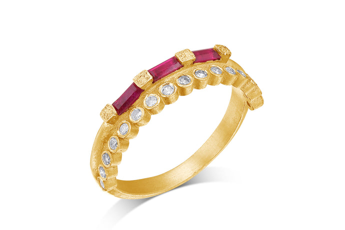 Diamond Baguette Ruby Alternative Engagemnt Ring