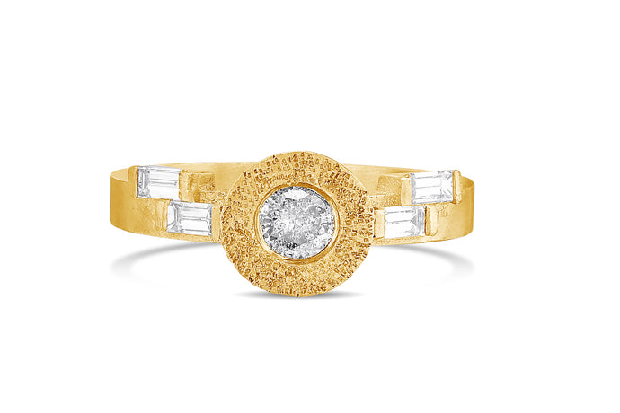 Solitaire Baguette Diamond Gold Engagement Ring