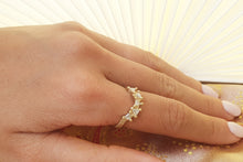 Load image into Gallery viewer, Art Deco Diamond Engagement Ring, Wave Diamond Ring, Stacking Ring, Delicate Gold Ring