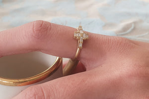 Art Deco Diamond Engagement Ring, Wave Diamond Ring, Stacking Ring, Delicate Gold Ring