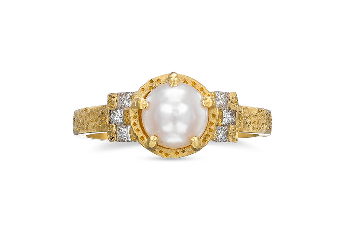 Pearl Engagement Ring with square Diamonds