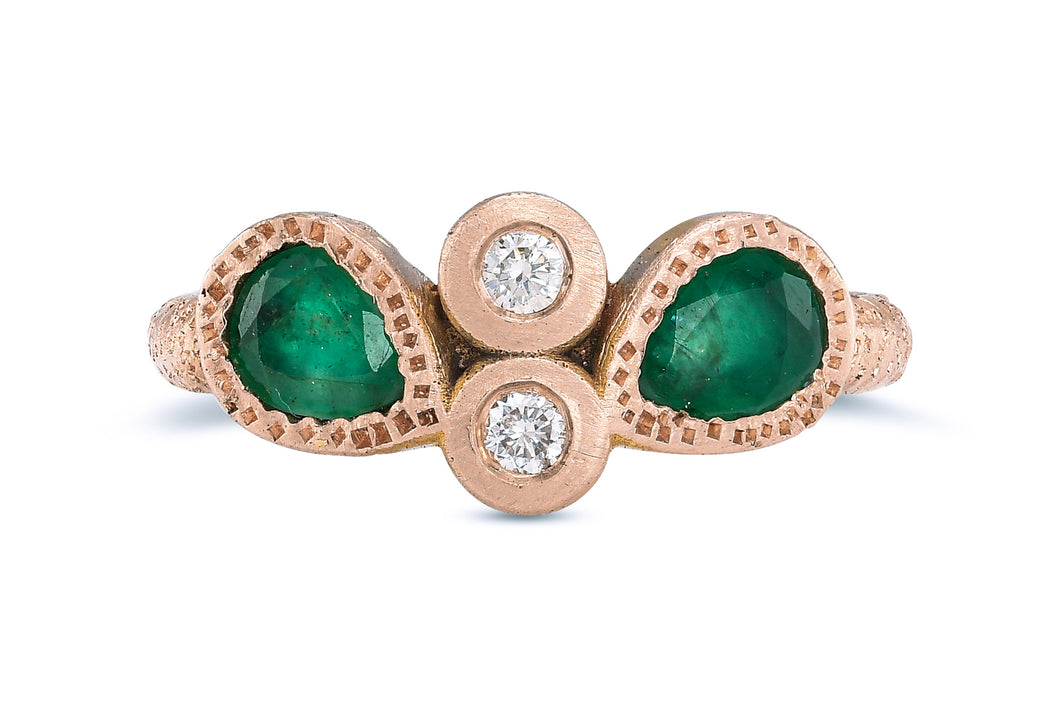 Champagne Diamond Emerald Engagement Ring