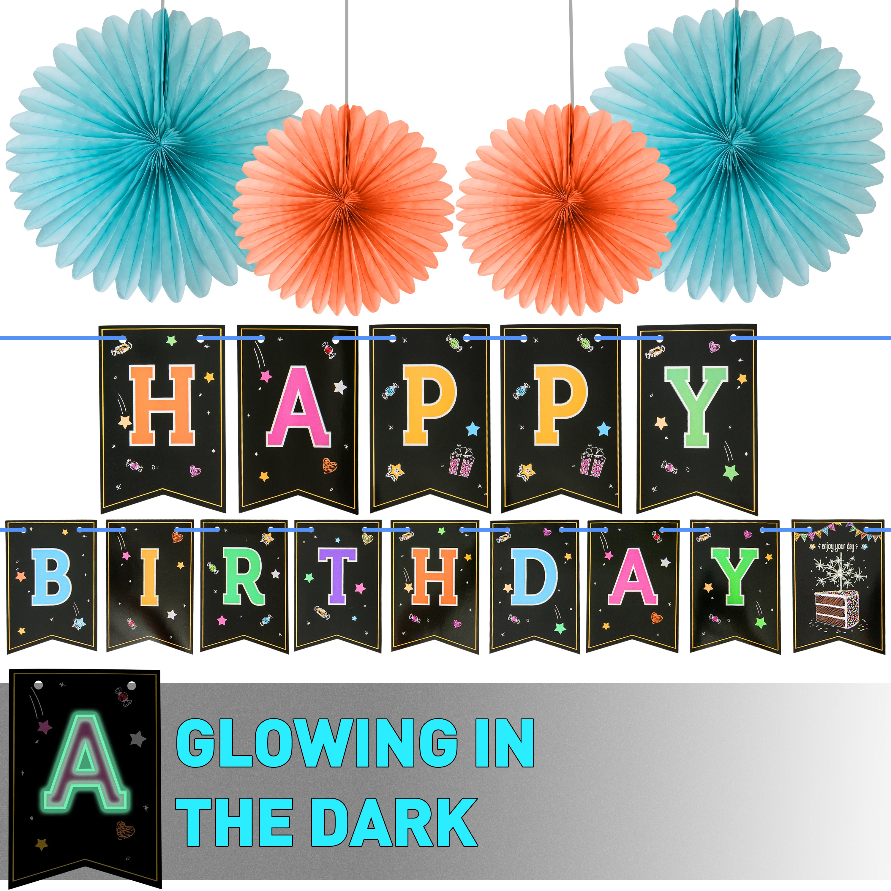 Glow In The Dark Happy Birthday Banner