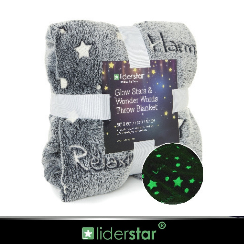 Glow In The Dark Throw Blanket With Stars and words.