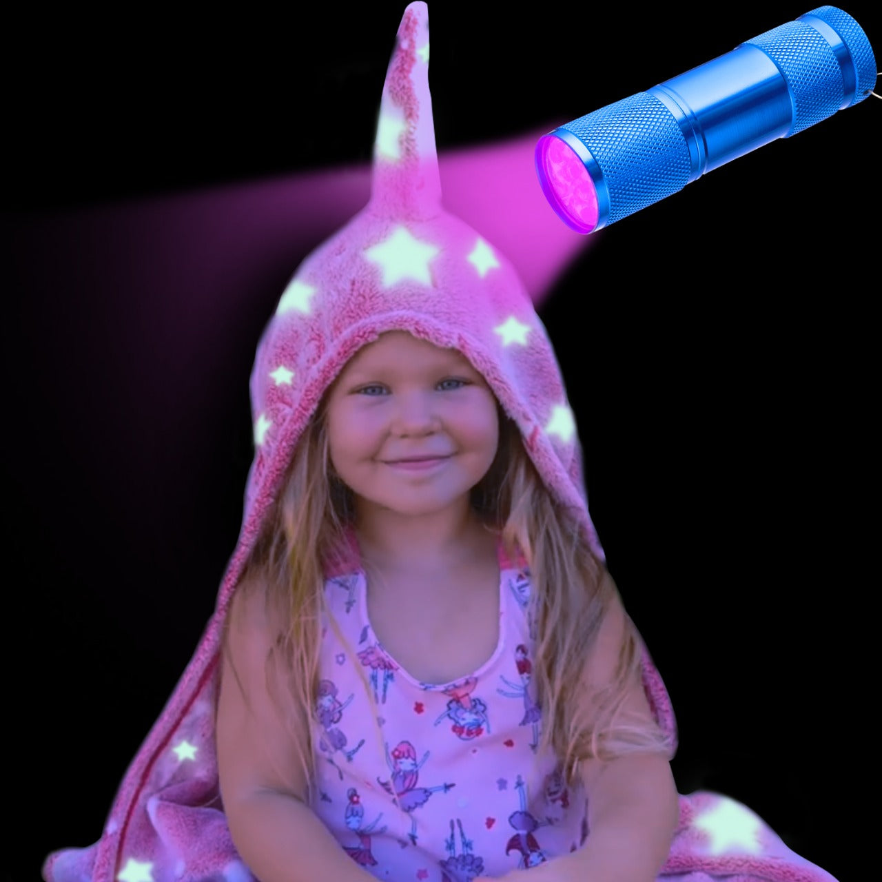 Glow In The Dark Hooded Unicorn Blanket including UV flashlight