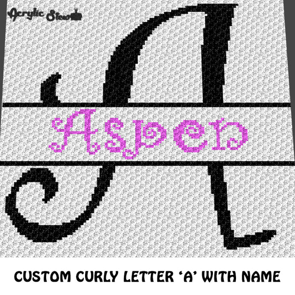Custom Personalized Fancy Curly Font Letter A and Custom Name crochet graphgan blanket pattern; graphgan pattern, c2c, cross stitch graph; pdf