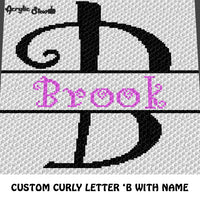 Custom Personalized Fancy Curly Font Letter B and Custom Name crochet graphgan blanket pattern; graphgan pattern, c2c, cross stitch graph; pdf