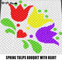 Tulip Bouquet Tri-Color Flowers Spring Seasonal Floral Garden crochet graphgan blanket pattern; graphgan pattern, c2c; single crochet; cross stitch; graph; pdf download; instant download