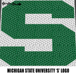Michigan State Spartans College Letter Logo S crochet graphgan blanket pattern; graphgan pattern, c2c; single crochet; cross stitch; graph; pdf download; instant download