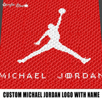 Custom Bi-Color Michael Jordan Logo with Name Typography crochet graphgan blanket pattern; graphgan pattern, c2c; single crochet; cross stitch; graph; pdf download; instant download