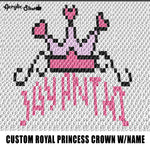 Custom Royal Princess Crown Personalized With Name crochet graphgan blanket pattern; graphgan pattern, c2c; single crochet; cross stitch; graph; pdf download; instant download