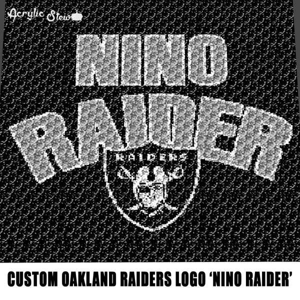 Custom Nino Raider Typography With Oakland Raiders NFL Logo and Word Logo California Professional Football Team Design crochet graphgan blanket pattern; graphgan pattern, c2c; single crochet; cross stitch; graph; pdf download; instant download
