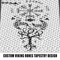 Custom Viking Symbols and Runes Typography and Monochromatic Art Design crochet graphgan blanket pattern; graphgan pattern, c2c; single crochet; cross stitch; graph; pdf download; instant download