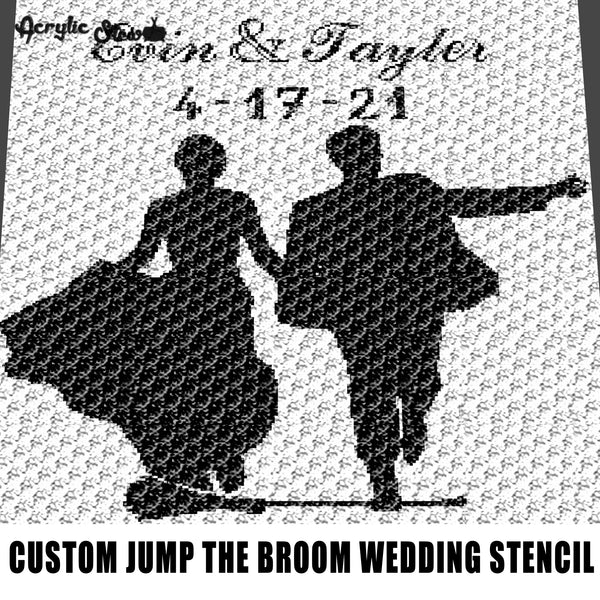 Custom Jump the Broom Wedding Stencil Personalized with Names and Date Anniversary Nuptials crochet graphgan blanket pattern; graphgan pattern, c2c; single crochet; cross stitch; graph; pdf download; instant download