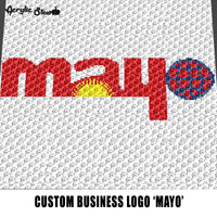 Custom Mayo Business Logo crochet graphgan blanket pattern; graphgan pattern, c2c; single crochet; cross stitch; graph; pdf download; instant download