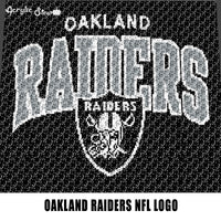 Oakland Raiders NFL Logo and Word Logo California Professional Football Team Design crochet graphgan blanket pattern; graphgan pattern, c2c; single crochet; cross stitch; graph; pdf download; instant download