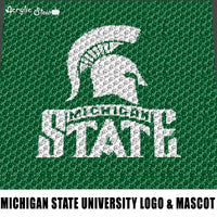 Michigan State University Spartans College Logo and Mascot crochet graphgan blanket pattern; graphgan pattern, c2c; single crochet; cross stitch; graph; pdf download; instant download