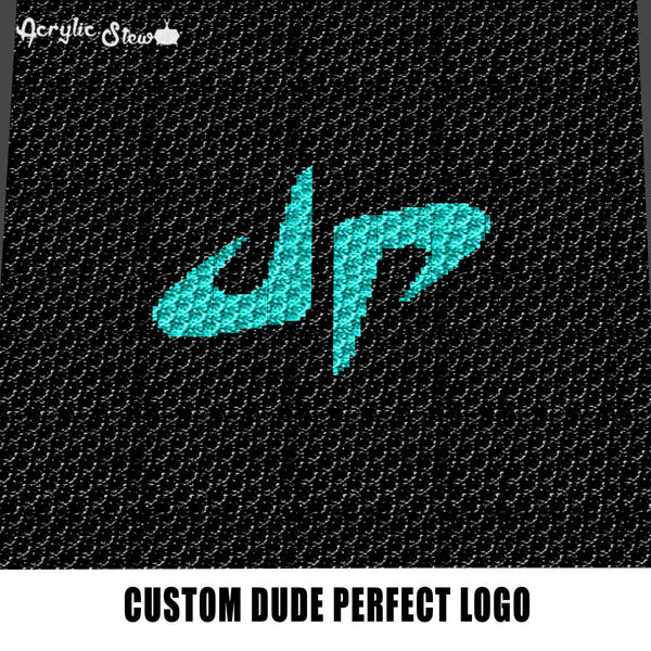 Custom Dude Perfect Sports and Comedy Group Logo Design crochet graphgan blanket pattern; graphgan pattern, c2c; single crochet; cross stitch; graph; pdf download; instant download
