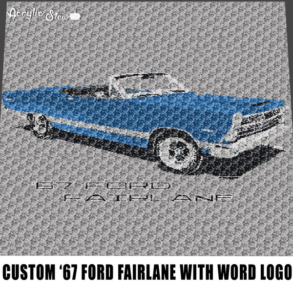 Custom 1967 Ford Fairlane With Vintage Ford Word Logo and Lettering crochet graphgan blanket pattern; graphgan pattern, c2c; single crochet; cross stitch; graph; pdf download; instant download