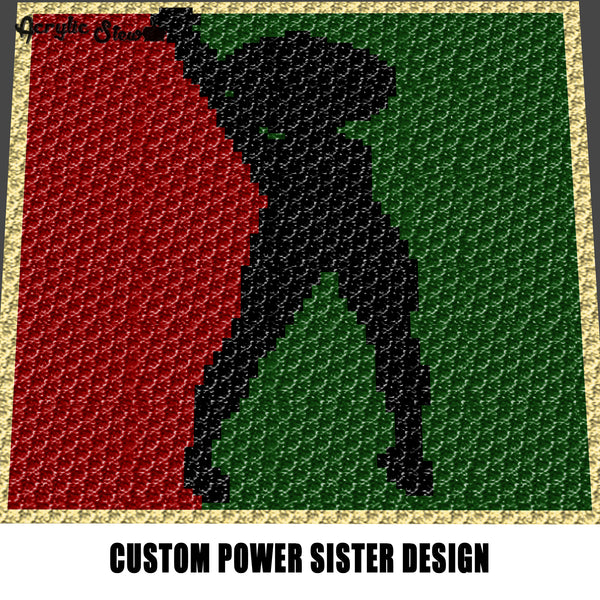 Custom Power Sister Tri Color Art Afro Girl In Heels African American Beauty crochet graphgan blanket pattern; graphgan pattern, c2c; single crochet; cross stitch; graph; pdf download; instant download