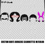 Custom Bob's Burgers Silhouettes With Color Animated Cartoon Television Show Characters crochet graphgan blanket pattern; graphgan pattern, c2c; single crochet; cross stitch; graph; pdf download; instant download