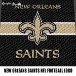 New Orleans Saints NFL Football Logo Art crochet graphgan blanket pattern; c2c; single crochet; cross stitch; graph; pdf download; instant download