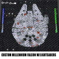 Custom Millennium Falcon With Blue and Green Lightsabers Star Wars Vintage Space Photo crochet graphgan blanket pattern; graphgan pattern, c2c; single crochet; cross stitch; graph; pdf download; instant download