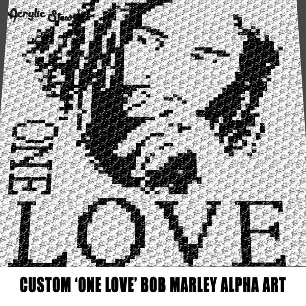 Custom One Love Song Title Bob Marley Legend Album Cover Alpha Art  crochet graphgan blanket pattern; graphgan pattern, c2c; single crochet; cross stitch; graph; pdf download; instant download