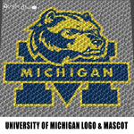 University of Michigan Wolverines College Logo and Mascot crochet graphgan blanket pattern; graphgan pattern, c2c; single crochet; cross stitch; graph; pdf download; instant download