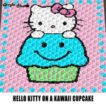 Hello Kitty Sitting On A Cupcake Kawaii Cartoon Art Polka Trim crochet graphgan blanket pattern; graphgan pattern, c2c; single crochet; cross stitch; graph; pdf download; instant download