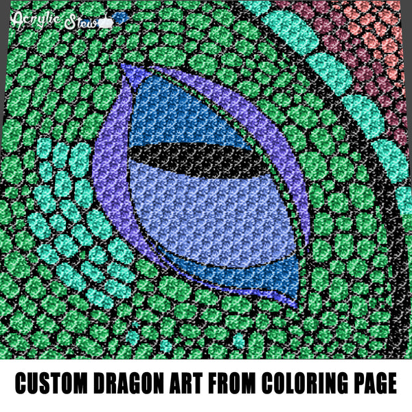 Custom Dragon Art Colored By Child From Coloring Page Recreation crochet graphgan blanket pattern; graphgan pattern, c2c; single crochet; cross stitch; graph; pdf download; instant download