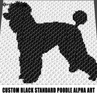 Custom Black Standard Poodle Alpha Art crochet graphgan blanket pattern; graphgan pattern, c2c; single crochet; cross stitch; graph; pdf download; instant download