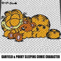 Garfield Asleep With Pooky Nickelodeon Cartoon Movie Character crochet graphgan blanket pattern; graphgan pattern, c2c, single crochet; cross stitch; graph; pdf download; instant download
